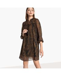 Best Mountain - Flared Printed Dress With Puff Sleeves - Lyst