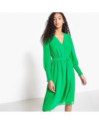La Redoute - Wrapover Dress With Smocked Mesh Sleeves - Lyst