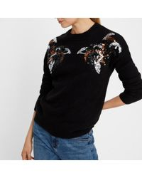 44cd16a69 Lyst - Vero Moda Wool Crew Neck Jumper sweater With Sequined Block ...