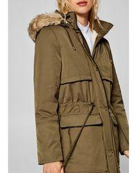 Esprit - Parka With Faux Fur Hood - Lyst