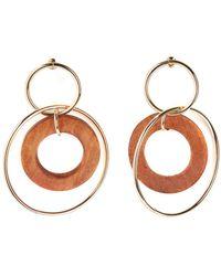 La Redoute - Wood And Metal Hoop Earrings - Lyst