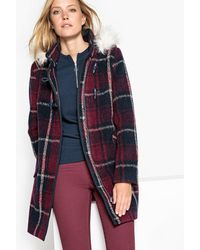 La Redoute - Checked Duffle Coat With Faux Fur Hood - Lyst