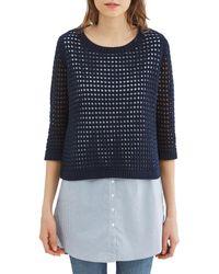 Esprit | Openwork 2-in-1 Sleeveless Jumper/sweater/striped Blouse | Lyst