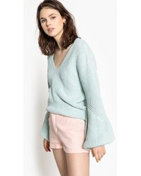 La Redoute - Ribbed V-neck Jumper/sweater With Long Flared Sleeves - Lyst