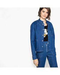 LA REDOUTE   Straight Denim Jacket With Mandarin Collar   Lyst
