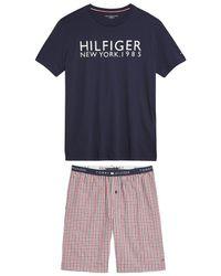 Tommy Hilfiger - Pijama con short, camiseta estampada y short a cuadros - Lyst