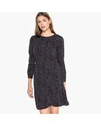 Best Mountain - Polka Dot Print Dress With Elasticated Waist - Lyst