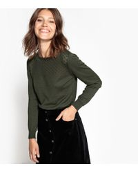 La Redoute - Cotton Mix Jumper/sweater With Openwork Detail - Lyst