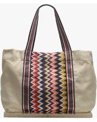 f293bcc3942 X Castaner Margherita Beige Fabric Zig Zag Shopper Bag
