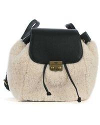 UGG - Ugg Australia Vivienne Black Leather Sheepskin Backpack - Lyst
