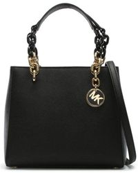 Michael Kors - Small Cynthia North South Black Leather Satchel Bag Colou - Lyst