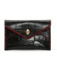 Alexander McQueen - Envelope Black Reptile Leather Cardholder - Lyst