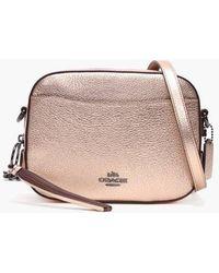 da4f6cb684e7 COACH - Metallic Rose Gold Leather Camera Bag - Lyst