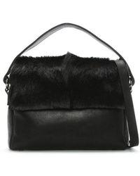 Sherene Melinda - Black Leather Fan Satchel Bag - Lyst