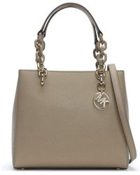 8a59a440dcc7 ... where to buy michael kors small cynthia north south truffle leather  satchel bag lyst 693eb 646cb ...