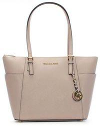 Michael Kors | Jet Set Pocket Soft Pink Leather Top Zip Tote Bag | Lyst