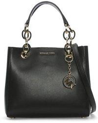 Michael Kors - Cynthia Dressy Black Leather Satchel Bag - Lyst