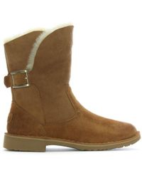 UGG - Jannika Chestnut Suede Twinface Ankle Boots - Lyst