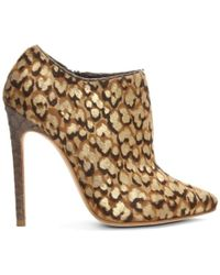 Gina - Kenny Leopard Calf Hair Ankle Boot - Lyst