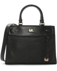 Michael Kors - Reagan Black Leather Satchel Bag - Lyst