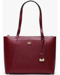Michael Kors - Maddie Maroon Leather East West Tote Bag - Lyst