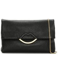 Lulu Guinness - Issy Half Covered Lip Black Grainy Leather Cross-body Ba - Lyst