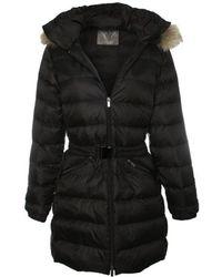 Daniel - Black Fur Trim Hooded Waist Belt Jacket - Lyst