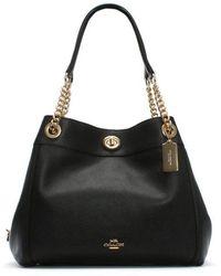 COACH - Turnlock Edie Black Polished Pebbled Leather Shoulder Bag - Lyst