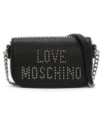 Love Moschino - Collie Small Black Studded Logo Cross-body Bag - Lyst