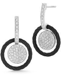 Alor - 18k Diamond Pavé Circle Drop Earrings - Lyst