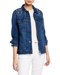7 For All Mankind - Pearl Embellished Denim Trucker Jacket - Lyst
