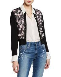 Karl Lagerfeld - Floral Sheer-front Shrug Cardigan - Lyst