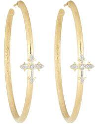 Jude Frances | 18k Fleur Cross Pave Diamond Large Hoop Earrings | Lyst
