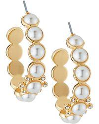 Lydell NYC - Pearly Hoop Earrings - Lyst