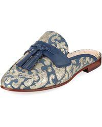 0235e2dfb1c230 Lyst - Sam Edelman Paris Jacquard Tassel Mule Loafer in Blue