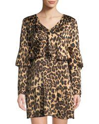 Haute Rogue - Leo Animal-print Ruffled Mini Dress - Lyst