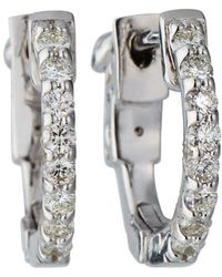 KC Designs - 14k White Gold Diamond Hoop Earrings - Lyst
