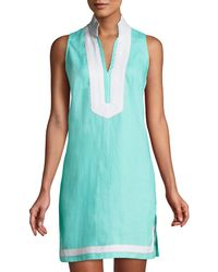 Sail To Sable - Sleeveless High-neck Two-tone Tunic Dress - Lyst