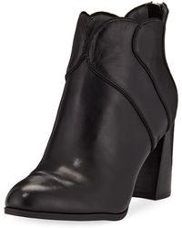 Adrienne Vittadini - Tabby Leather Block-heel Booties - Lyst