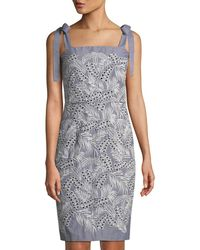 Maggy London - Embroidered Tie-shoulder Sheath Dress - Lyst