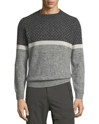 Brunello Cucinelli - Men's Cashmere-blend Jacquard/stripe Pullover Sweater - Lyst