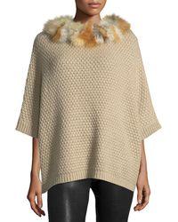 Adrienne Landau - Waffle-knit Fur-trim Cocoon Sweater - Lyst