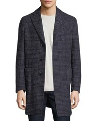 Neiman Marcus - Boucle Plaid Single-breasted Coat - Lyst