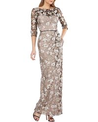 JS Collections - Boat-neck 3/4-sleeve Floral-embroidered Mesh Illusion Gown - Lyst