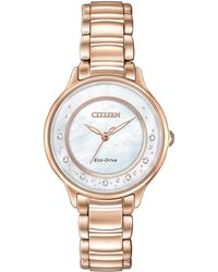 Citizen - Women's Eco-drive Rose Gold-tone Stainless Steel Bracelet Watch 30mm Em0382-86d - Lyst