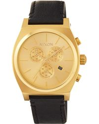 Nixon - 39mm Time Teller Chrono Leather Watch Golden/black - Lyst