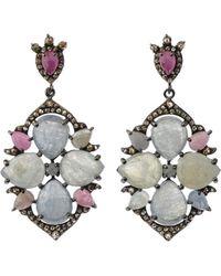 Bavna - Silver Multi-cut Drop Earrings With Multicolor Sapphire & Diamonds - Lyst