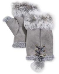 Adrienne Landau - Rabbit Fur-trim Fingerless Gloves - Lyst