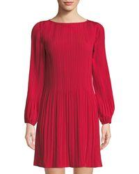 Catherine Malandrino - Long-sleeve Pleated Shift Dress - Lyst