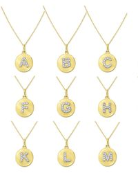 KC Designs - 14k Yellow Gold Diamond Disc Initial Necklace - Lyst